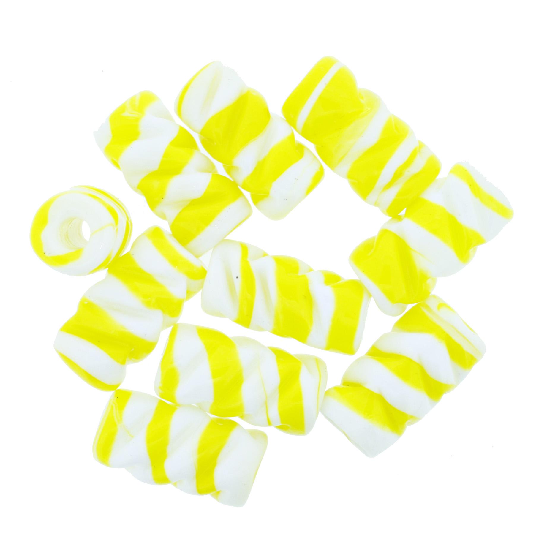Firma de Vidro Frisada - Amarela e Branca  - Universo Religioso® - Artigos de Umbanda e Candomblé