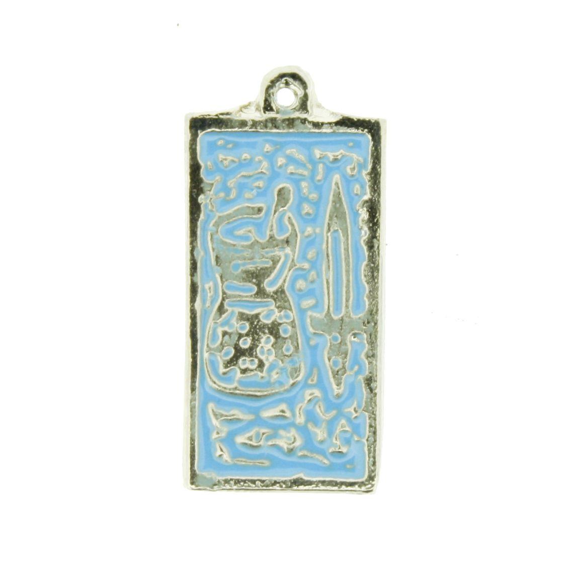 Funfun - Níquel com Resina Azul - 24mm  - Universo Religioso® - Artigos de Umbanda e Candomblé