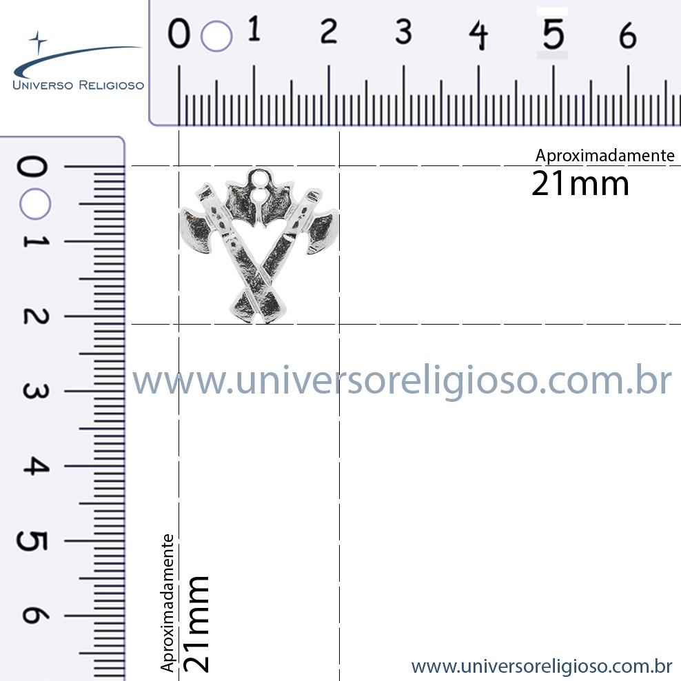 Machado Duplo - Níquel - 21mm  - Universo Religioso® - Artigos de Umbanda e Candomblé