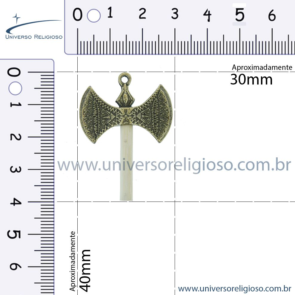 Machado Xangô - Ouro Velho - 40mm  - Universo Religioso® - Artigos de Umbanda e Candomblé