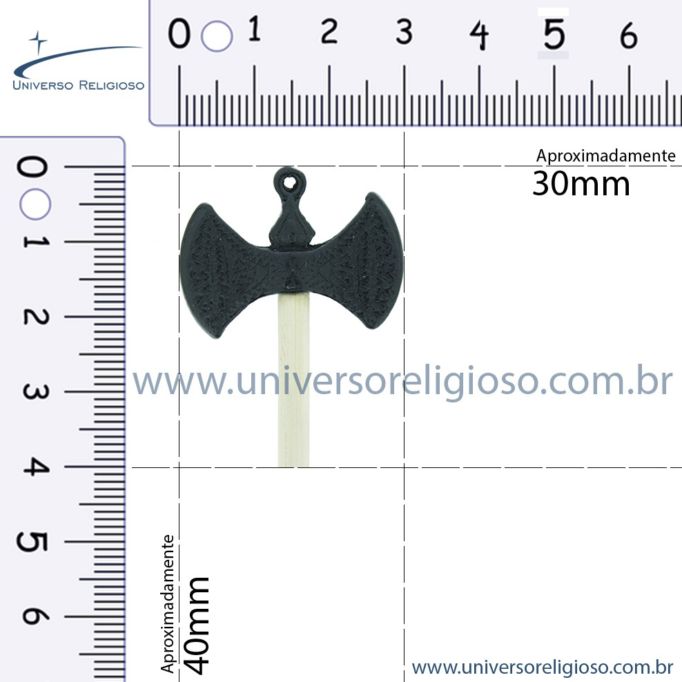 Machado Xangô - Preto - 40mm  - Universo Religioso® - Artigos de Umbanda e Candomblé
