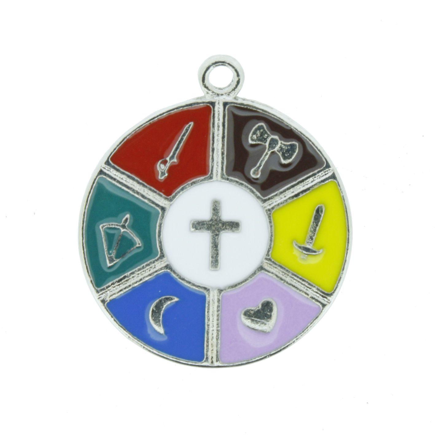 Medalha 7 Linhas - Níquel e Resina - 25mm  - Universo Religioso® - Artigos de Umbanda e Candomblé