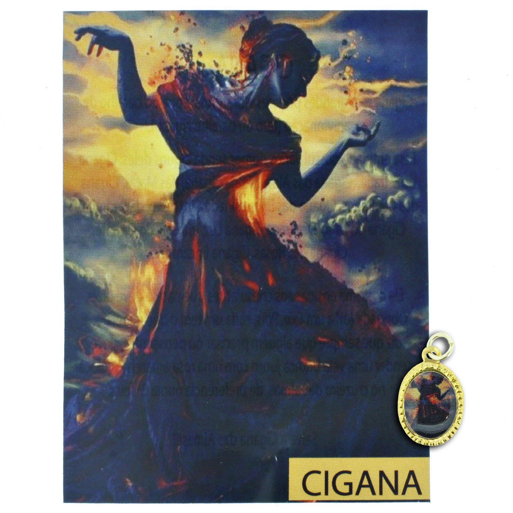 Medalha Cigana + Folheto  - Universo Religioso® - Artigos de Umbanda e Candomblé