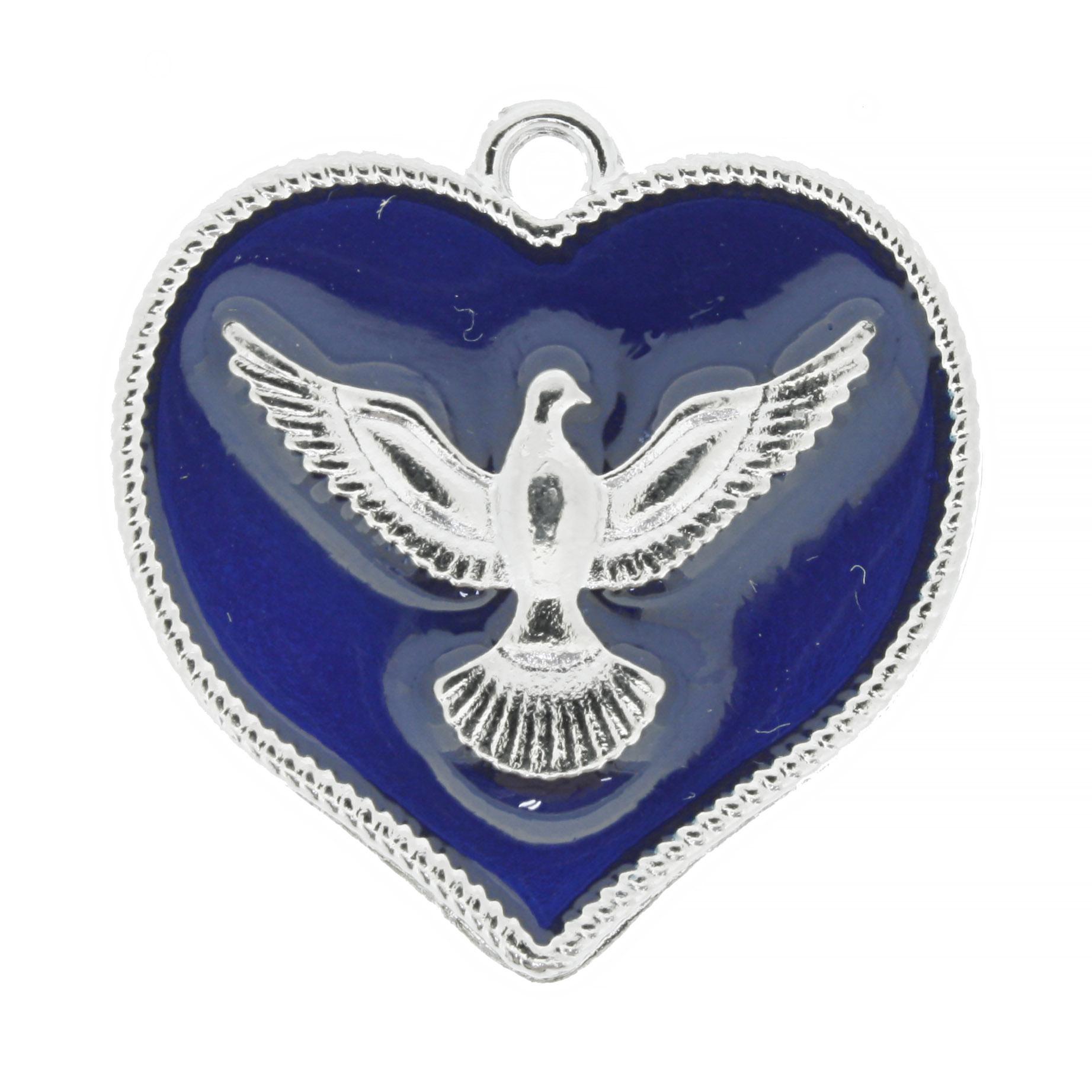 Medalha Coração Divino Espírito Santo - Níquel e Resina Azul Escuro - 30mm  - Universo Religioso® - Artigos de Umbanda e Candomblé