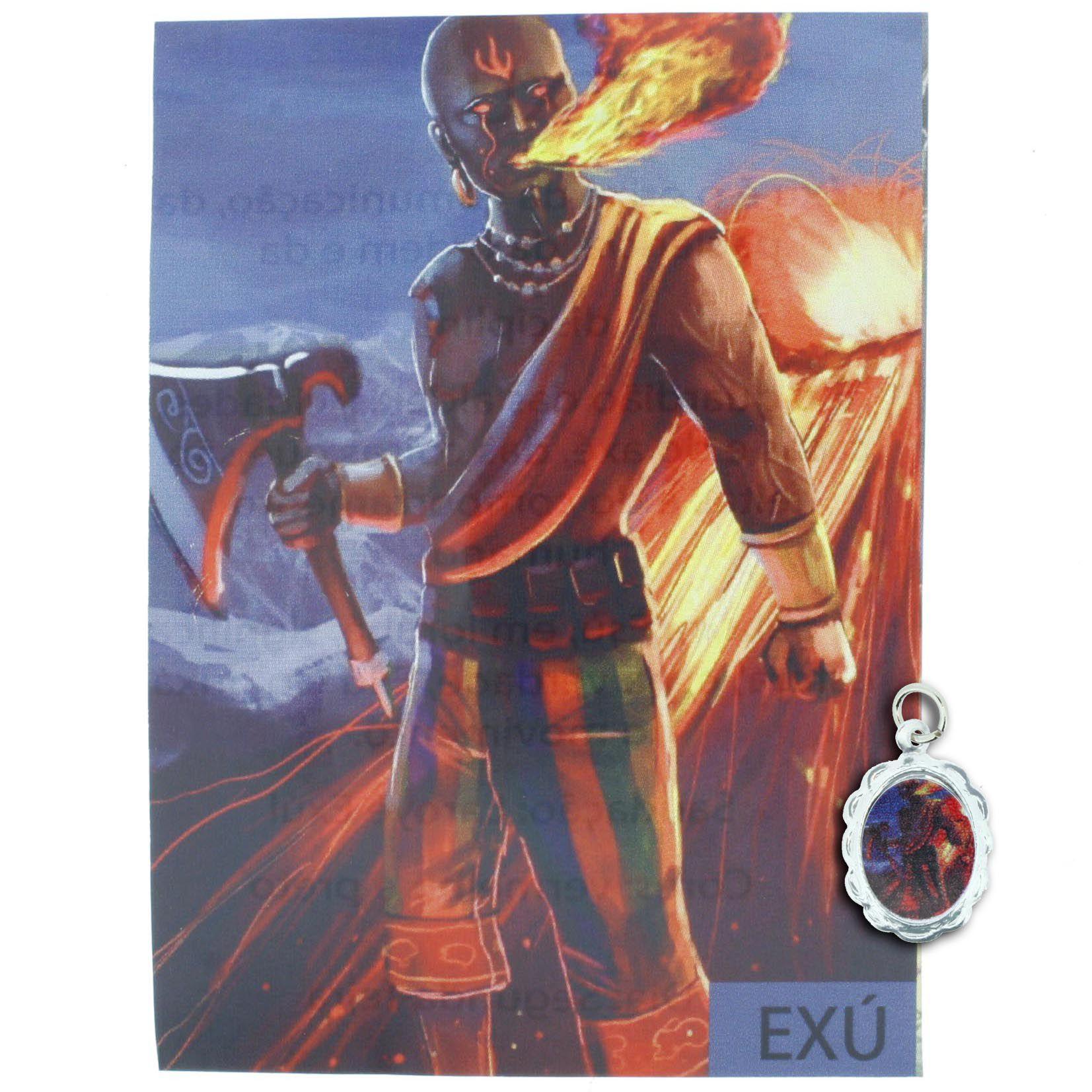 Medalha Exú + Folheto  - Universo Religioso® - Artigos de Umbanda e Candomblé