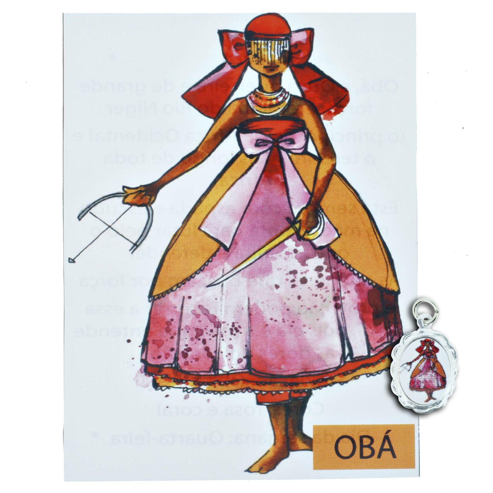 Medalha Obá + Folheto  - Universo Religioso® - Artigos de Umbanda e Candomblé