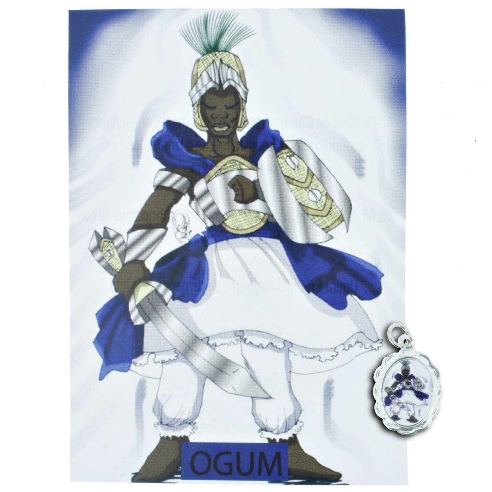 Medalha Ogum + Folheto  - Universo Religioso® - Artigos de Umbanda e Candomblé