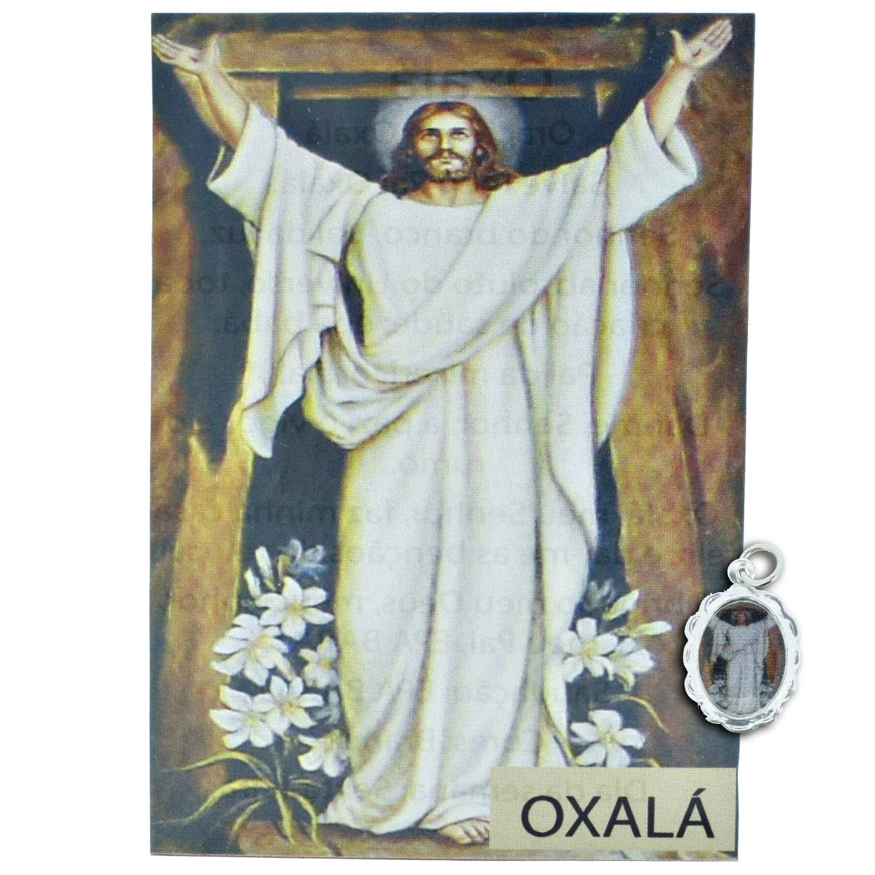 Medalha Oxalá + Folheto  - Universo Religioso® - Artigos de Umbanda e Candomblé