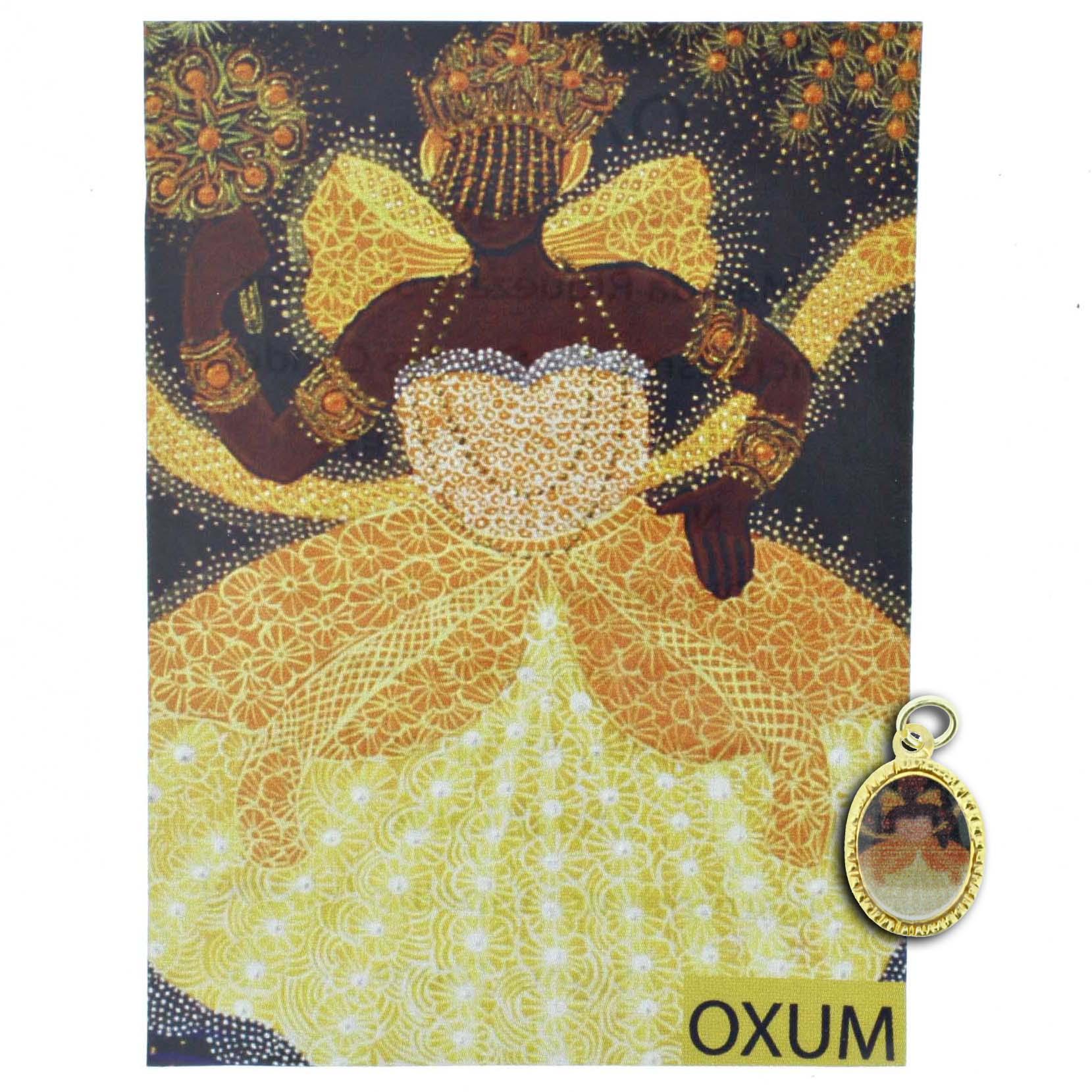 Medalha Oxum + Folheto  - Universo Religioso® - Artigos de Umbanda e Candomblé