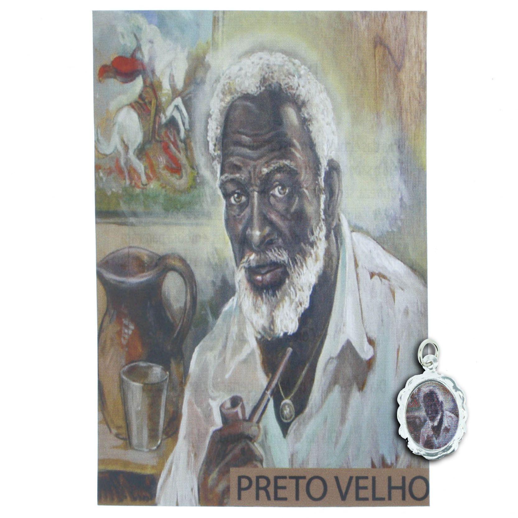 Medalha Preto Velho + Folheto  - Universo Religioso® - Artigos de Umbanda e Candomblé