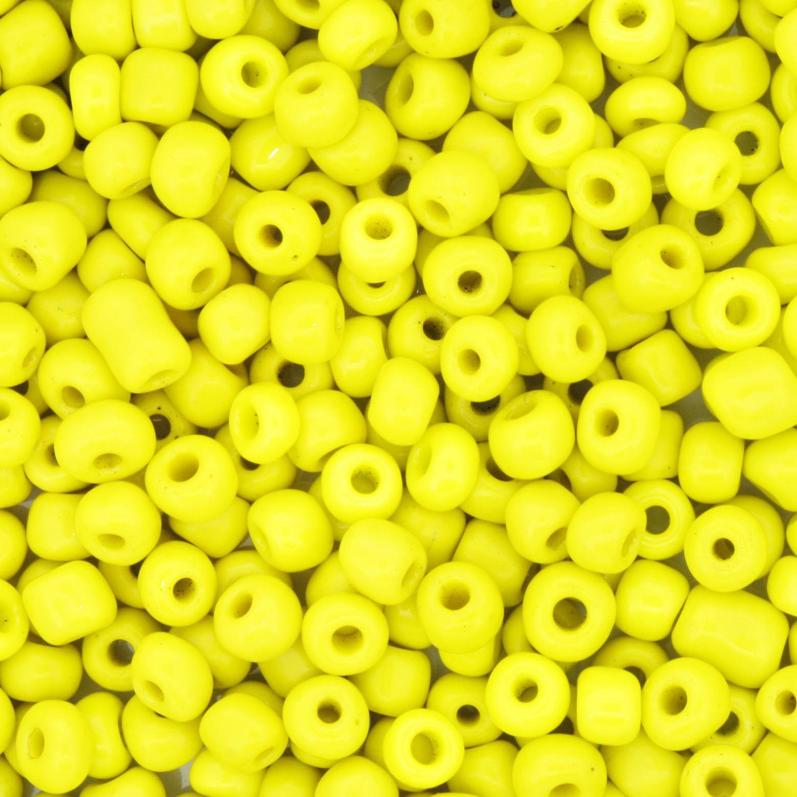 Miçanga 6/0 - 4.0x3.0mm - Amarela   - Universo Religioso® - Artigos de Umbanda e Candomblé