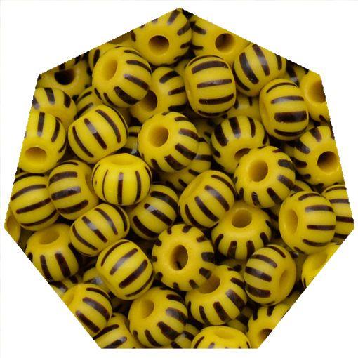 Miçanga Jablonex / Preciosa® - 5/0 [4,6mm] -  Amarelo Rajada de Preto - 500g  - Universo Religioso® - Artigos de Umbanda e Candomblé