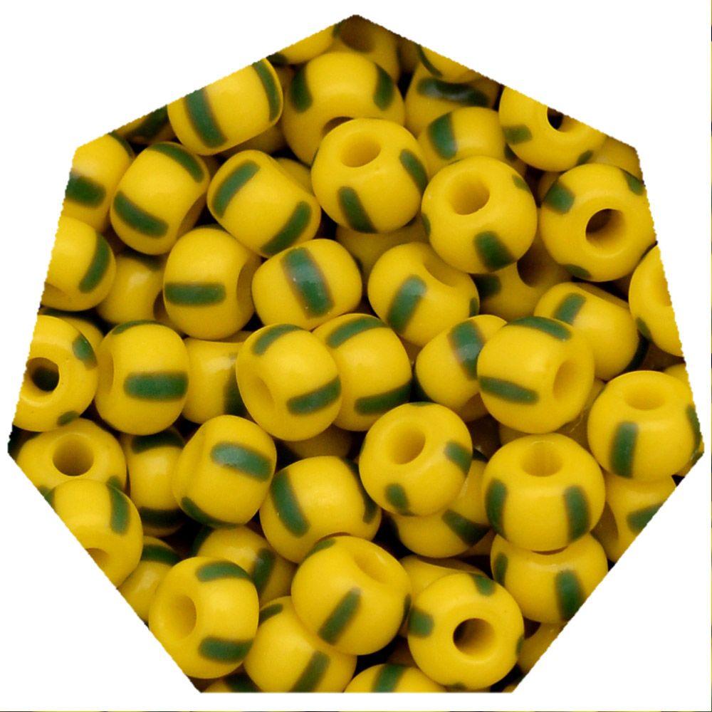 Miçanga Jablonex / Preciosa® - 5/0 [4,6mm] -  Amarelo Rajada de Verde - 500g  - Universo Religioso® - Artigos de Umbanda e Candomblé