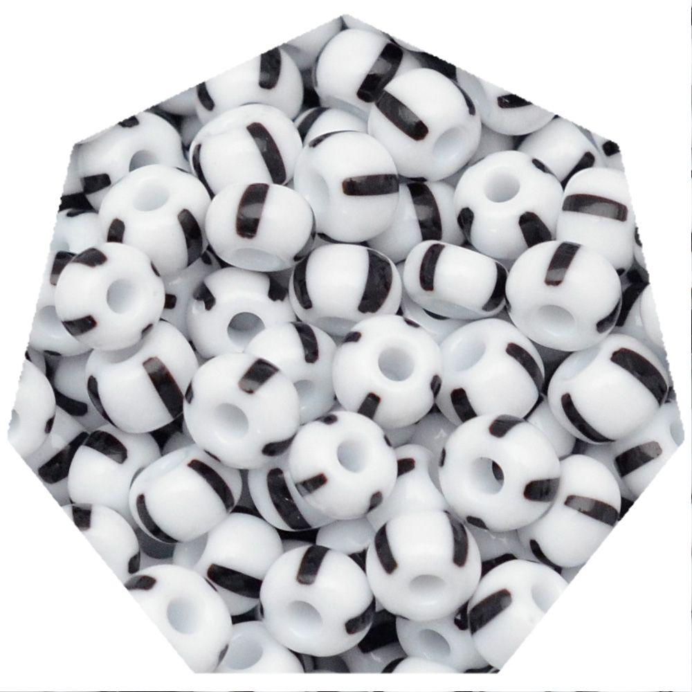 Miçanga Jablonex / Preciosa® - 5/0 [4,6mm] -  Branco Rajada de Preto - 500g  - Universo Religioso® - Artigos de Umbanda e Candomblé