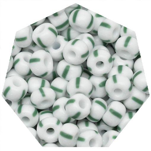 Miçanga Jablonex / Preciosa® - 5/0 [4,6mm] -  Branco Rajada de Verde - 500g  - Universo Religioso® - Artigos de Umbanda e Candomblé
