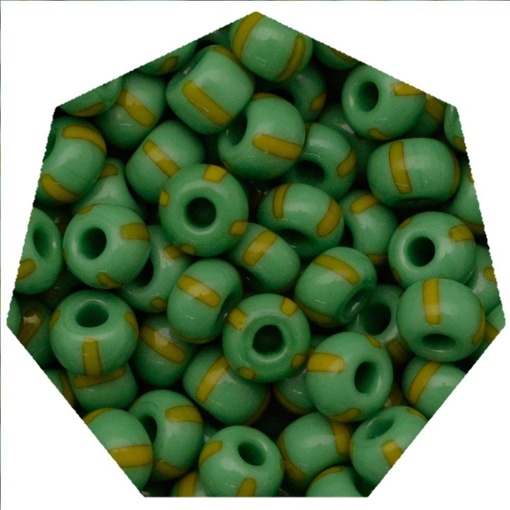 Miçanga Jablonex / Preciosa® - 5/0 [4,6mm] -  Verde Rajada de Amarelo - 500g  - Universo Religioso® - Artigos de Umbanda e Candomblé
