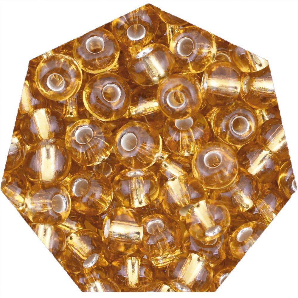 Miçanga Jablonex / Preciosa® - 6/0 [4,1mm] - Ouro Médio Transparente - 500g  - Universo Religioso® - Artigos de Umbanda e Candomblé