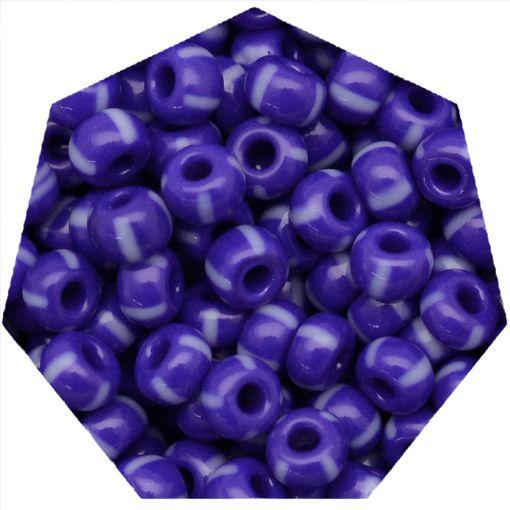 Miçanga Jablonex / Preciosa® - 9/0 [2,6mm] - Azul Rajado de Branco - 500g  - Universo Religioso® - Artigos de Umbanda e Candomblé