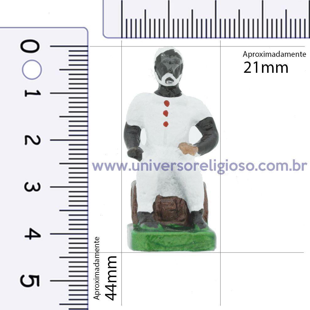 Mini Imagem Metal - Preto Velho  - 44mm  - Universo Religioso® - Artigos de Umbanda e Candomblé