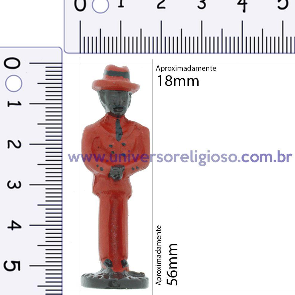 Mini Imagem Metal - Zé Pilintra Vermelho - 56mm  - Universo Religioso® - Artigos de Umbanda e Candomblé