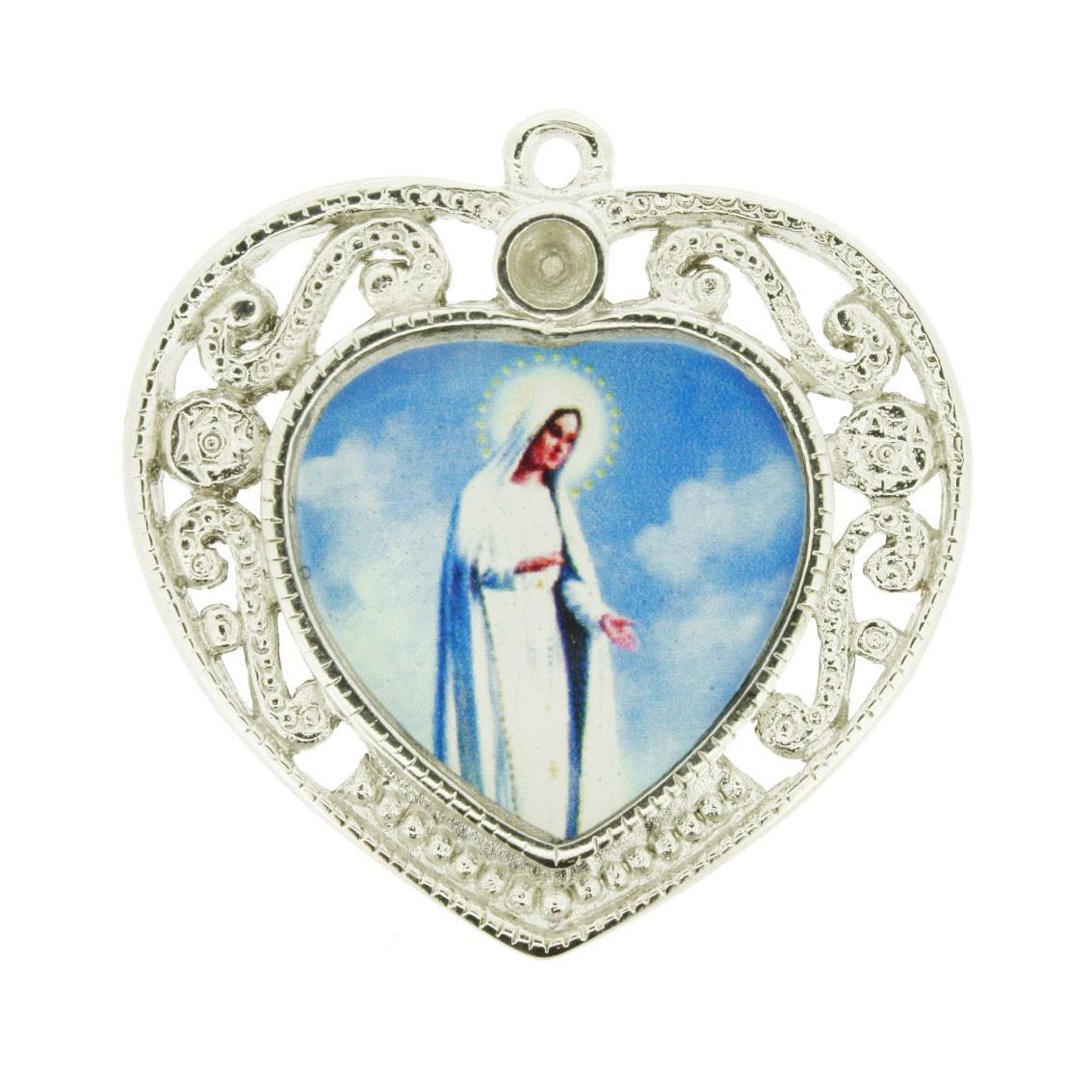 Nossa Senhora de Fátima - Níquel e Resina - 36mm  - Universo Religioso® - Artigos de Umbanda e Candomblé