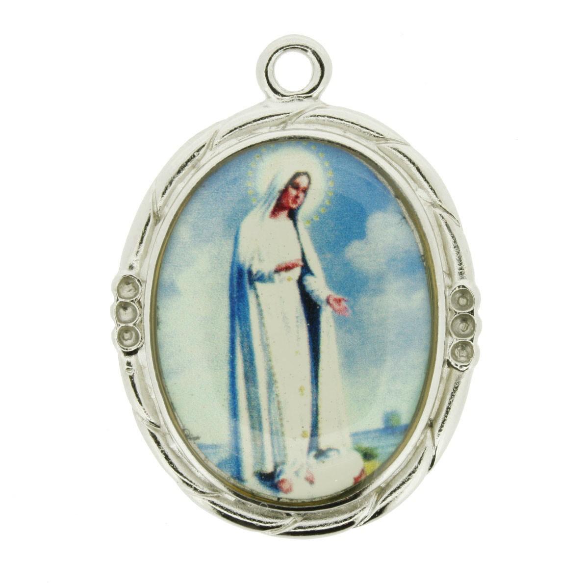 Nossa Senhora de Fátima - Níquel e Resina - 42mm  - Universo Religioso® - Artigos de Umbanda e Candomblé
