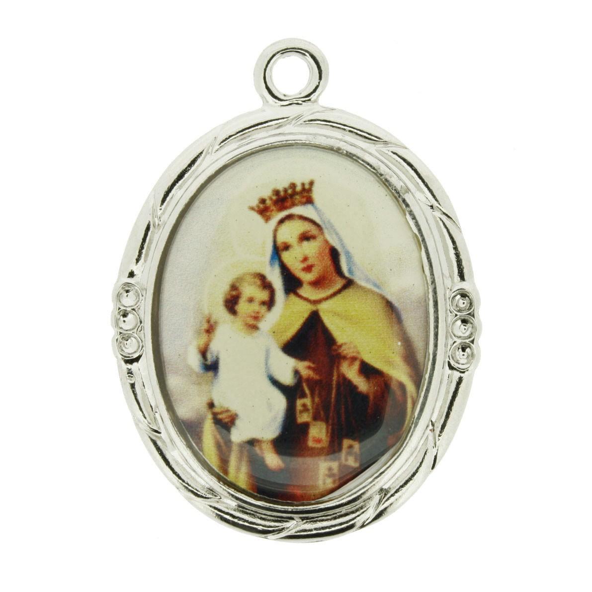 Nossa Senhora do Carmo - Níquel e Resina - 42mm  - Universo Religioso® - Artigos de Umbanda e Candomblé