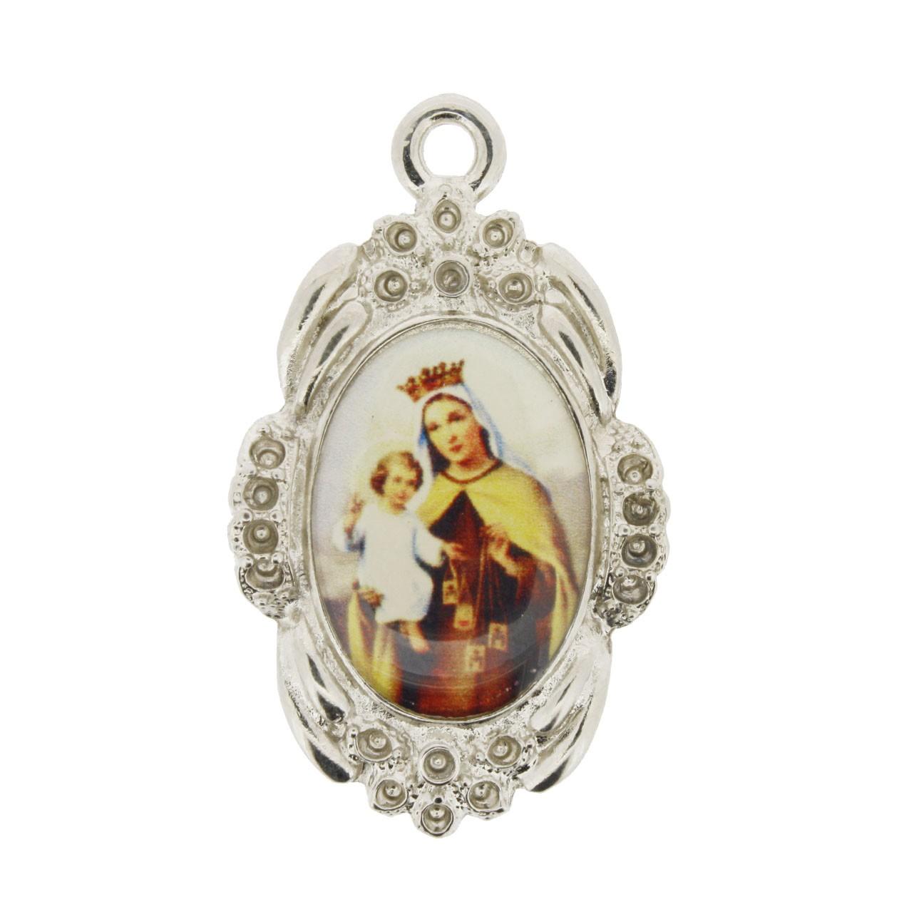 Nossa Senhora do Carmo - Níquel e Resina - 42x26mm  - Universo Religioso® - Artigos de Umbanda e Candomblé