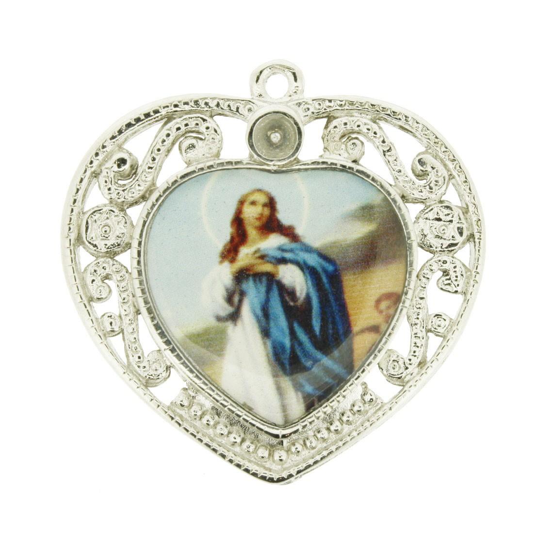 Nossa Senhora Imaculada Conceição - Níquel e Resina - 36mm  - Universo Religioso® - Artigos de Umbanda e Candomblé