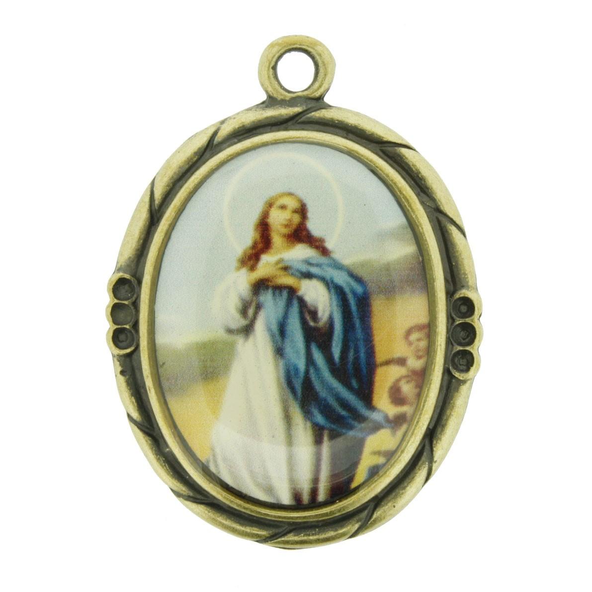 Nossa Senhora Imaculada Conceição - Ouro Velho e Resina - 42mm  - Universo Religioso® - Artigos de Umbanda e Candomblé