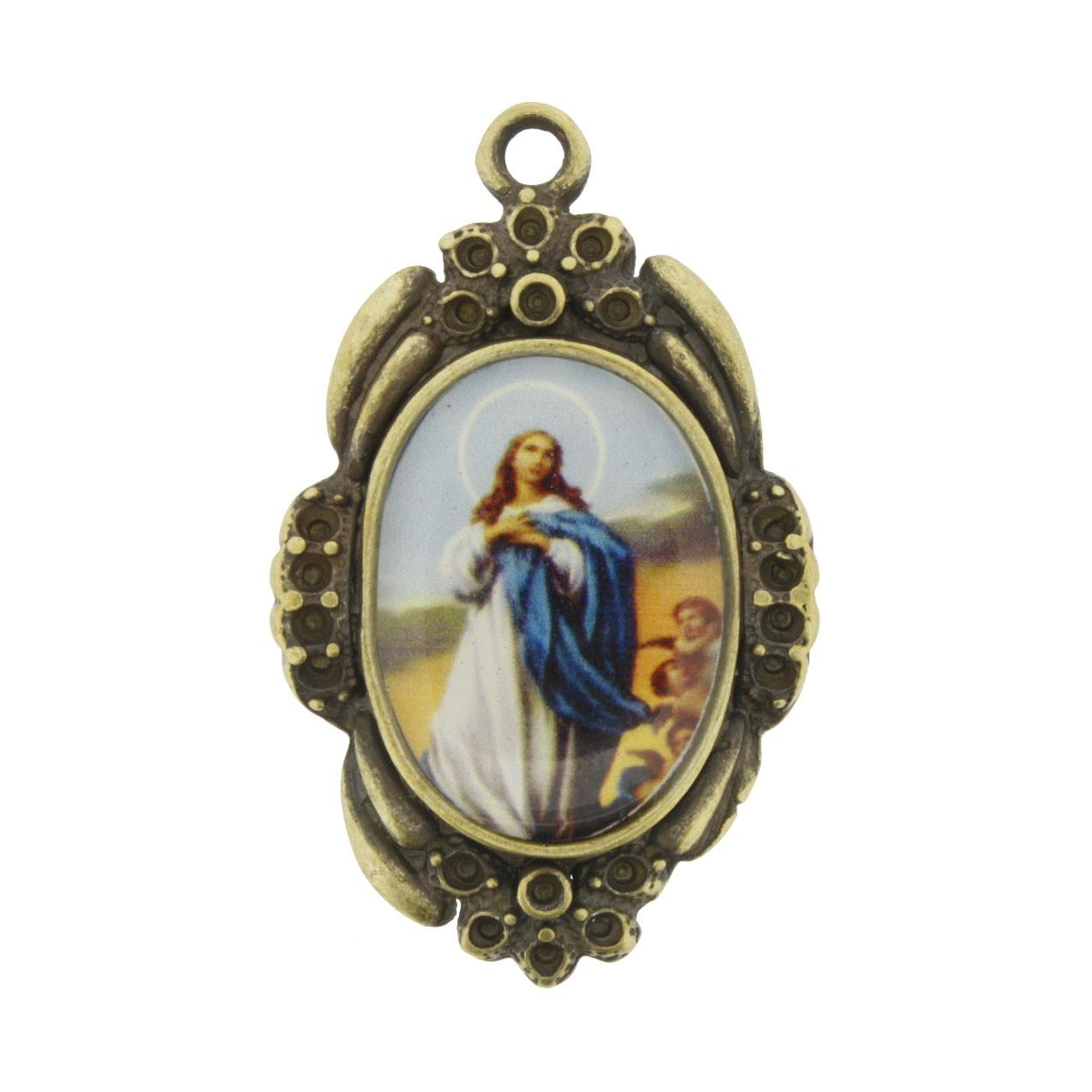 Nossa Senhora Imaculada Conceição - Ouro Velho e Resina - 42x26mm  - Universo Religioso® - Artigos de Umbanda e Candomblé