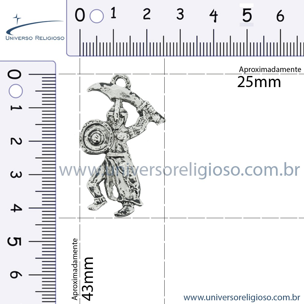 Ogum - Níquel Velho - 43mm  - Universo Religioso® - Artigos de Umbanda e Candomblé