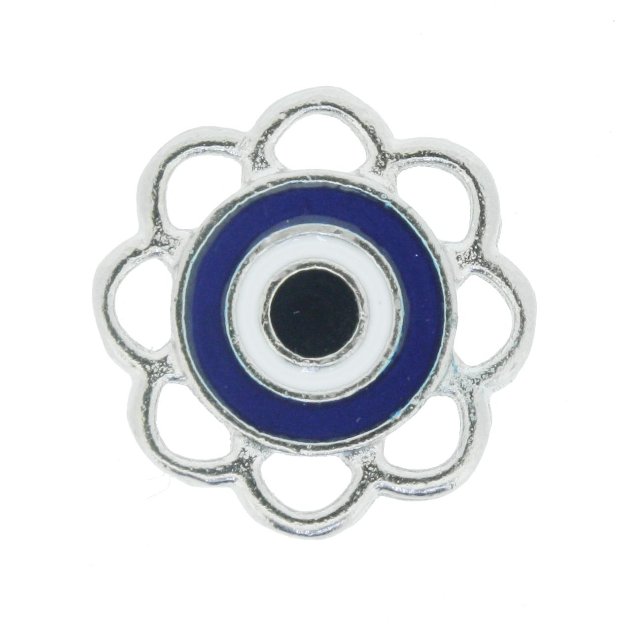 Olho Grego Flor - Níquel e Resina - Azul  - Universo Religioso® - Artigos de Umbanda e Candomblé