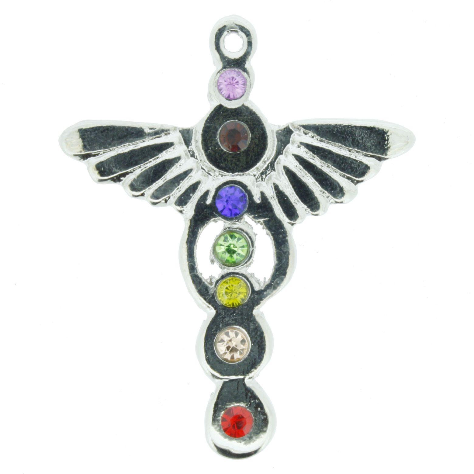 Pingente 7 Chakras - Asas de Anjos c/ Strass  - Universo Religioso® - Artigos de Umbanda e Candomblé