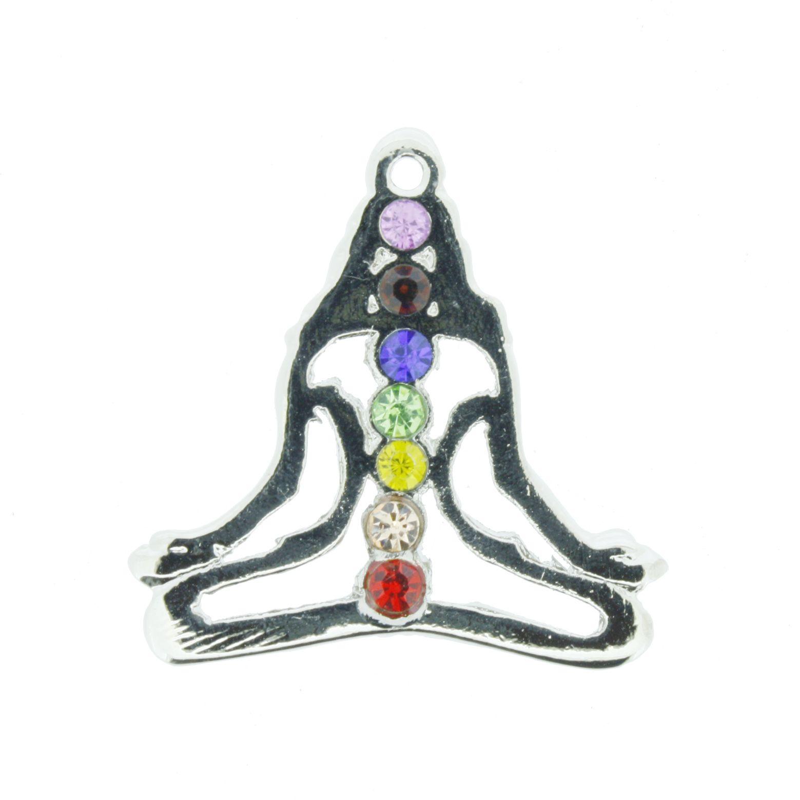 Pingente 7 Chakras - Yoga Feminino c/ Strass  - Universo Religioso® - Artigos de Umbanda e Candomblé