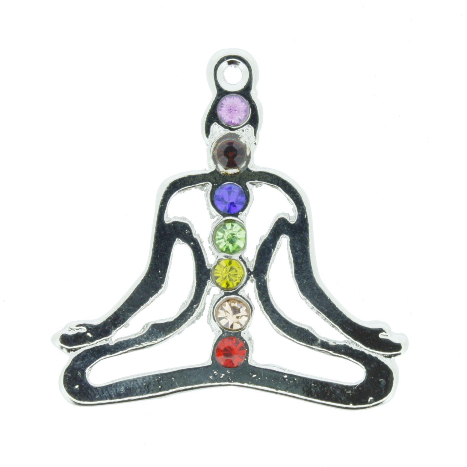 Pingente 7 Chakras - Yoga Masculino c/ Strass  - Universo Religioso® - Artigos de Umbanda e Candomblé