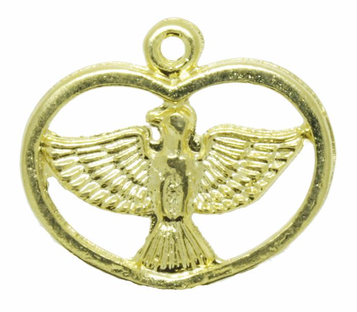 Pingente - Metal - Divino Espírito Santo - Dourado - 1,9cm - 01 peça  - Universo Religioso® - Artigos de Umbanda e Candomblé