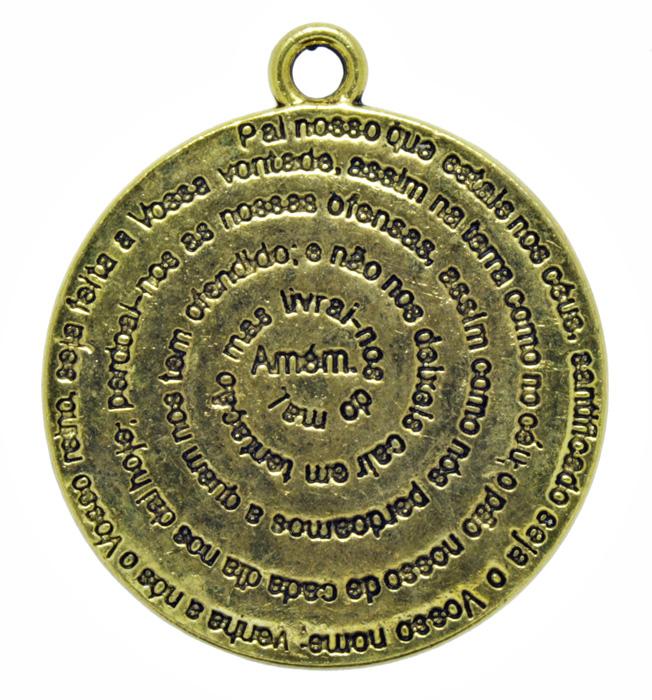 Pingente - Metal - Oração Pai Nosso - Dourado - 3,6cm - 01 Peça  - Universo Religioso® - Artigos de Umbanda e Candomblé
