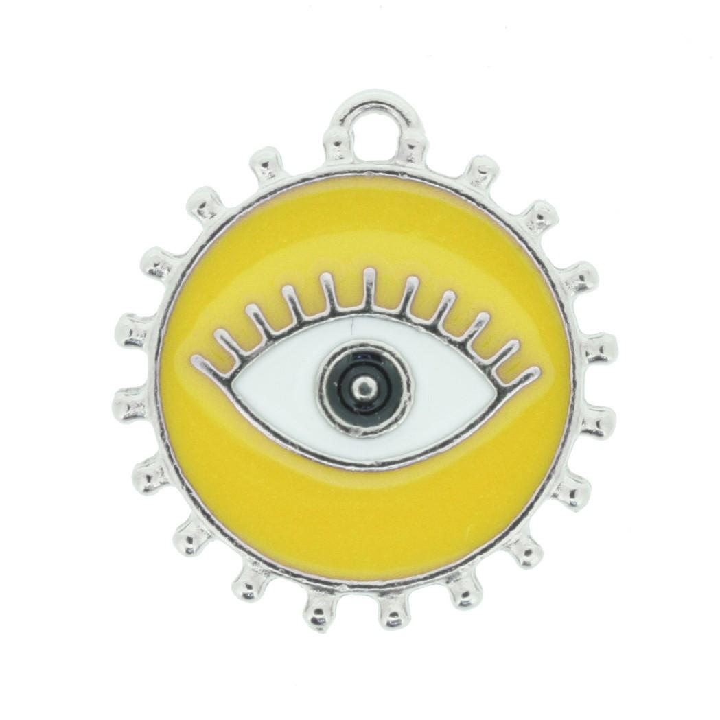 Pingente Olho Grego - Níquel e Resina - Amarelo  - Universo Religioso® - Artigos de Umbanda e Candomblé
