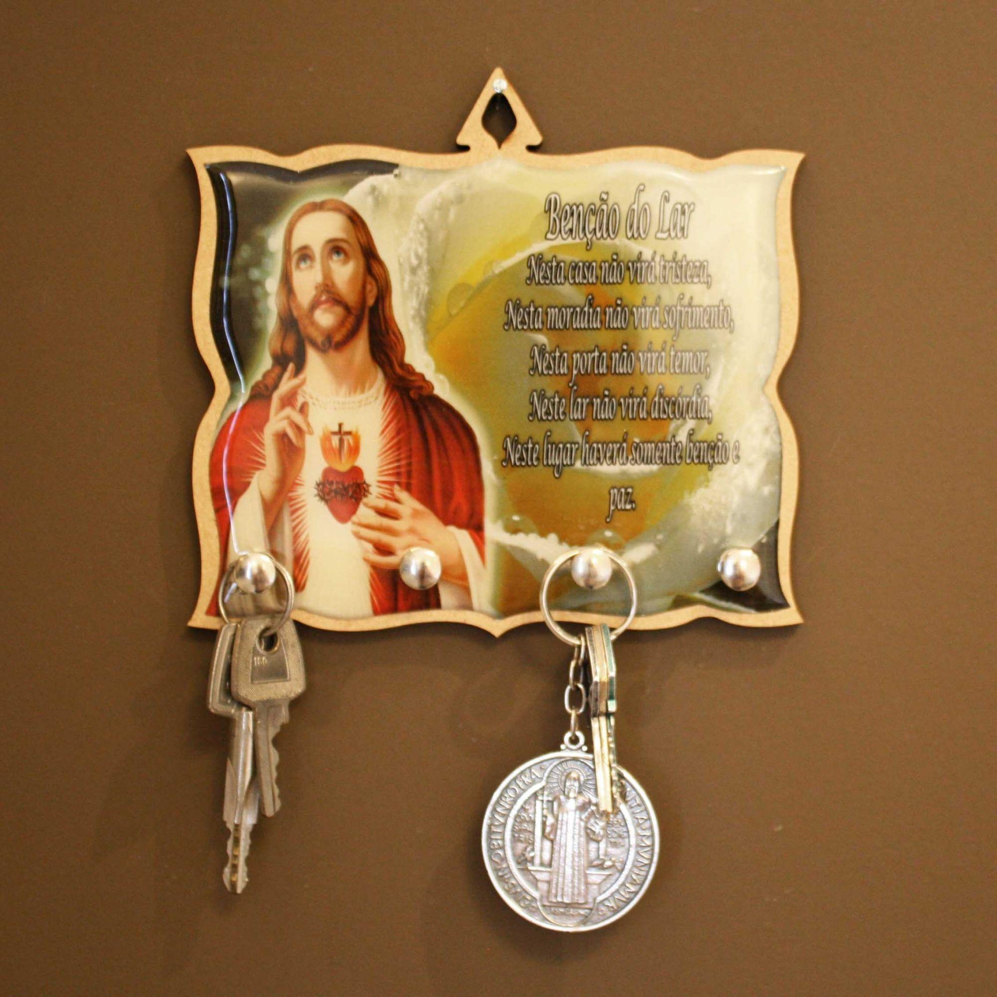 Porta Chaves - Benção do Lar - Jesus  - Universo Religioso® - Artigos de Umbanda e Candomblé