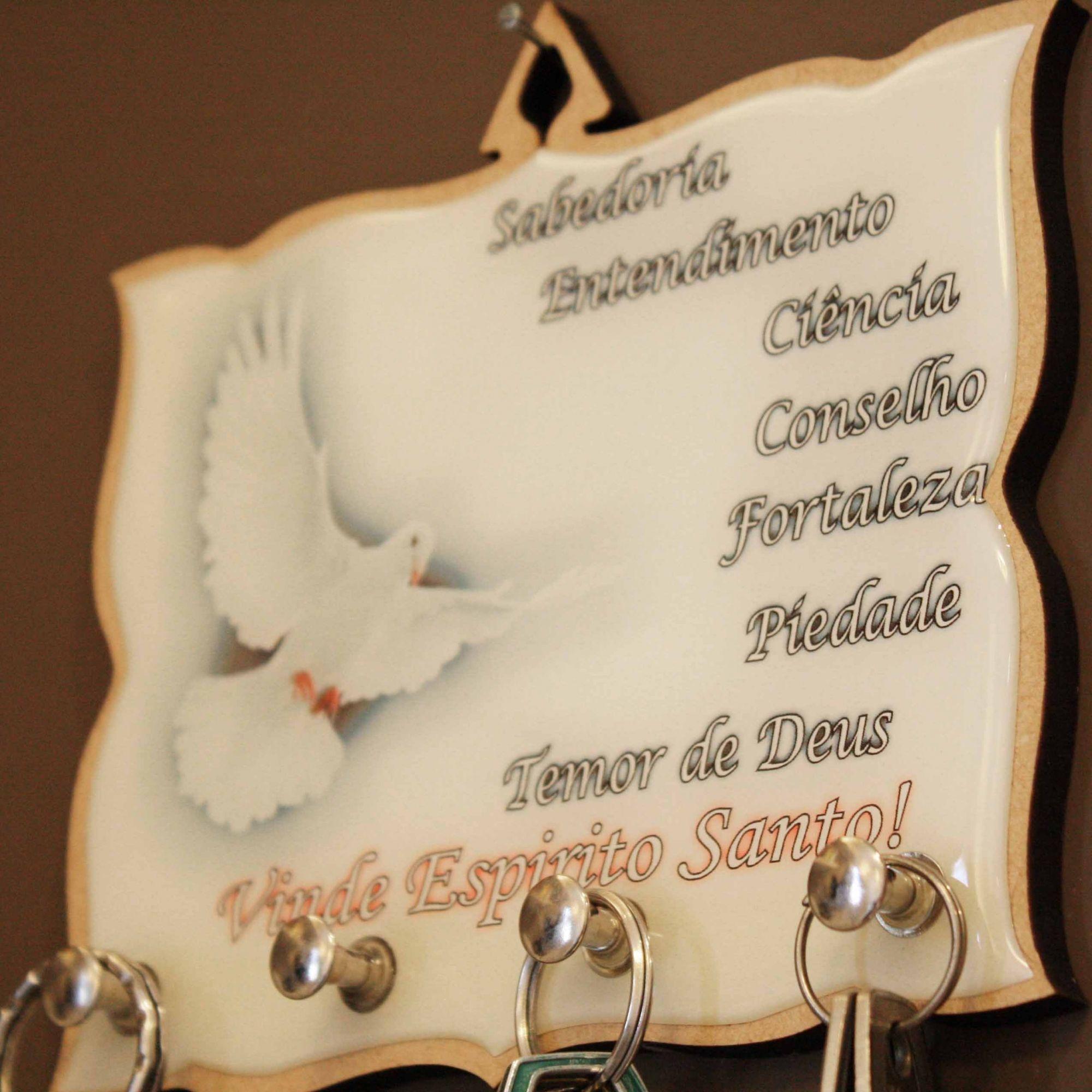 Porta Chaves - Vinde Espírito Santo  - Universo Religioso® - Artigos de Umbanda e Candomblé
