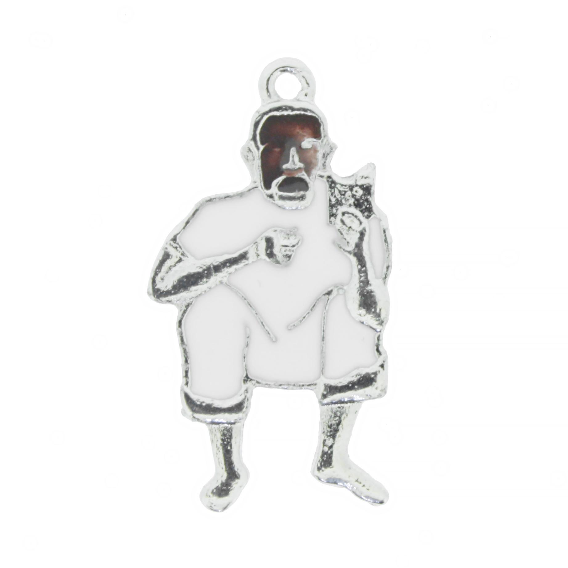 Preto Velho - Níquel e Resina Branca - 30mm  - Universo Religioso® - Artigos de Umbanda e Candomblé