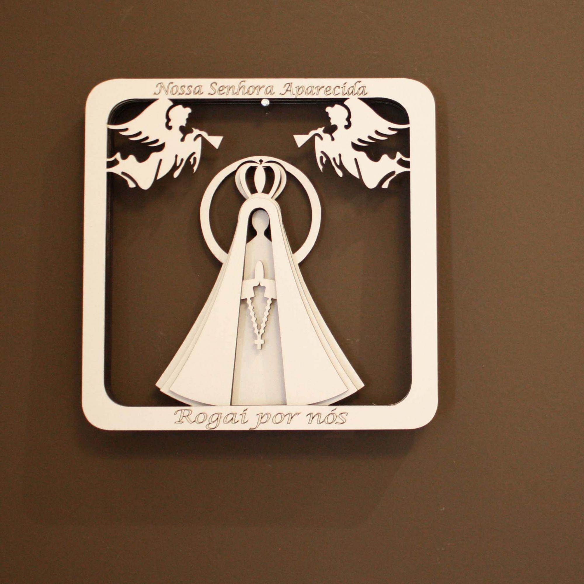 Quadro 3D - Nossa Senhora Aparecida - Branco  - Universo Religioso® - Artigos de Umbanda e Candomblé