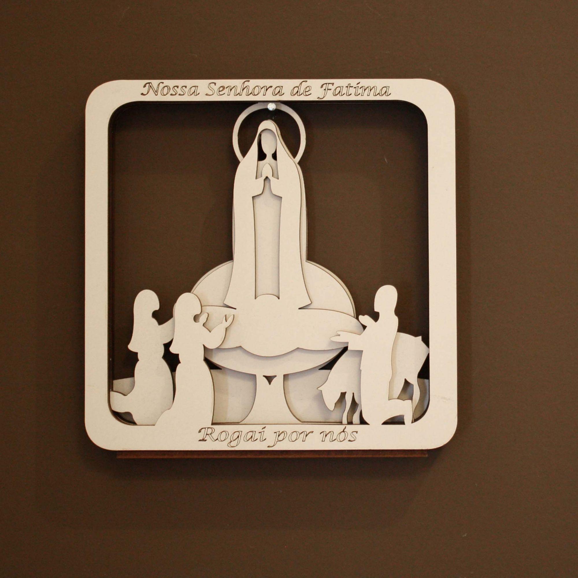 Quadro 3D - Nossa Senhora de Fátima - Branco  - Universo Religioso® - Artigos de Umbanda e Candomblé