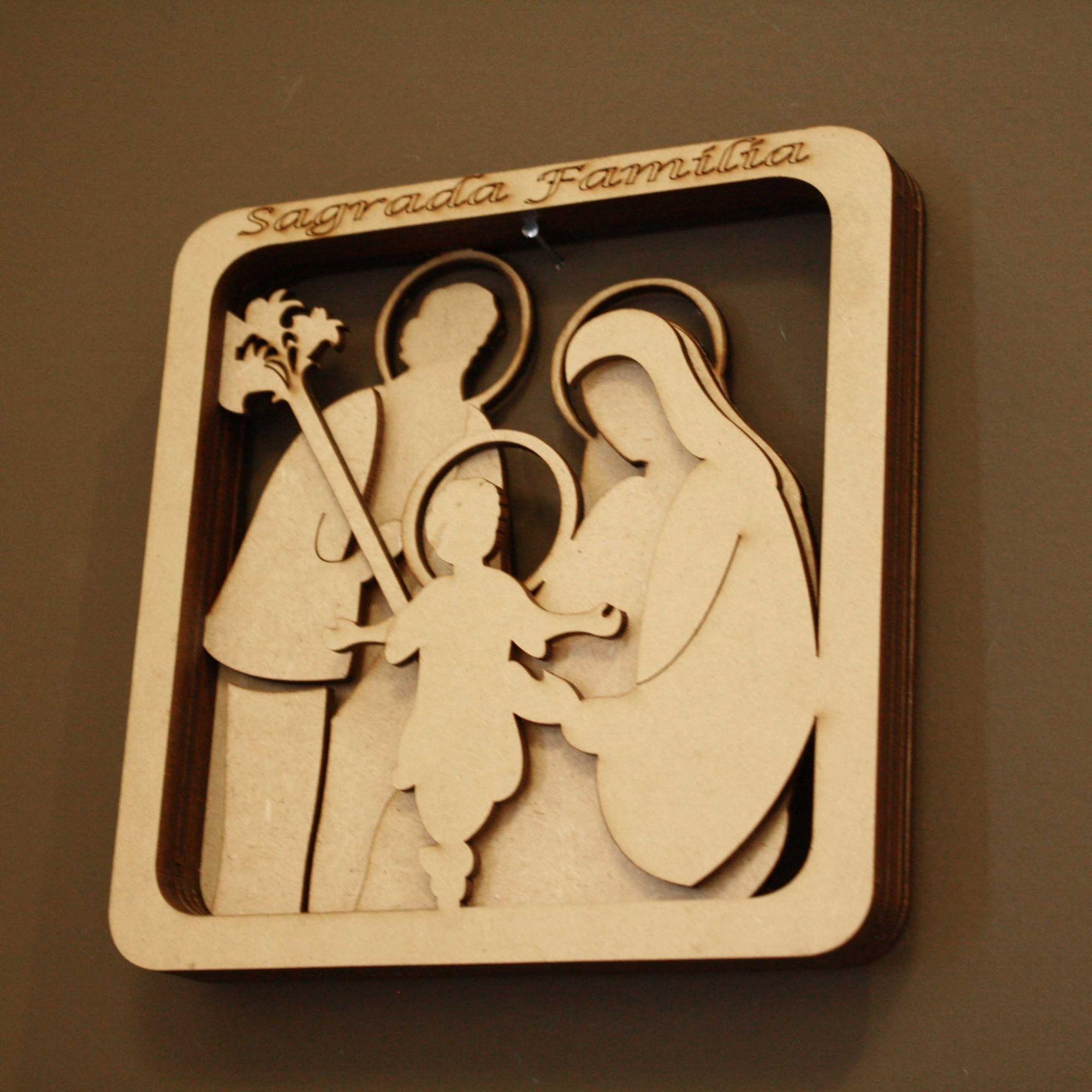 Quadro 3D - Sagrada Família - Cru  - Universo Religioso® - Artigos de Umbanda e Candomblé