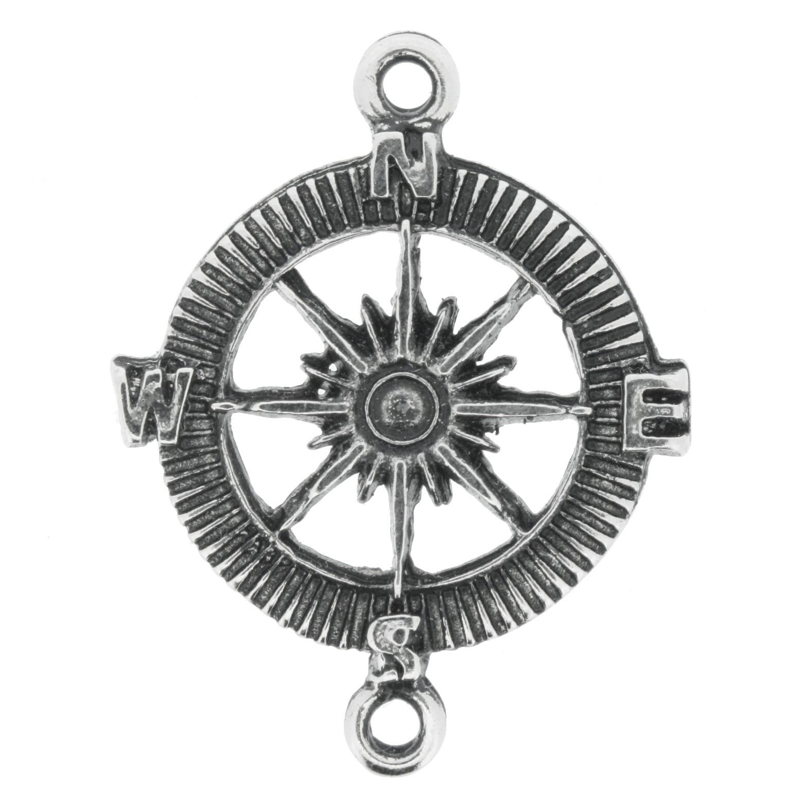 Rosa dos Ventos - Níquel Velho - 40mm  - Universo Religioso® - Artigos de Umbanda e Candomblé