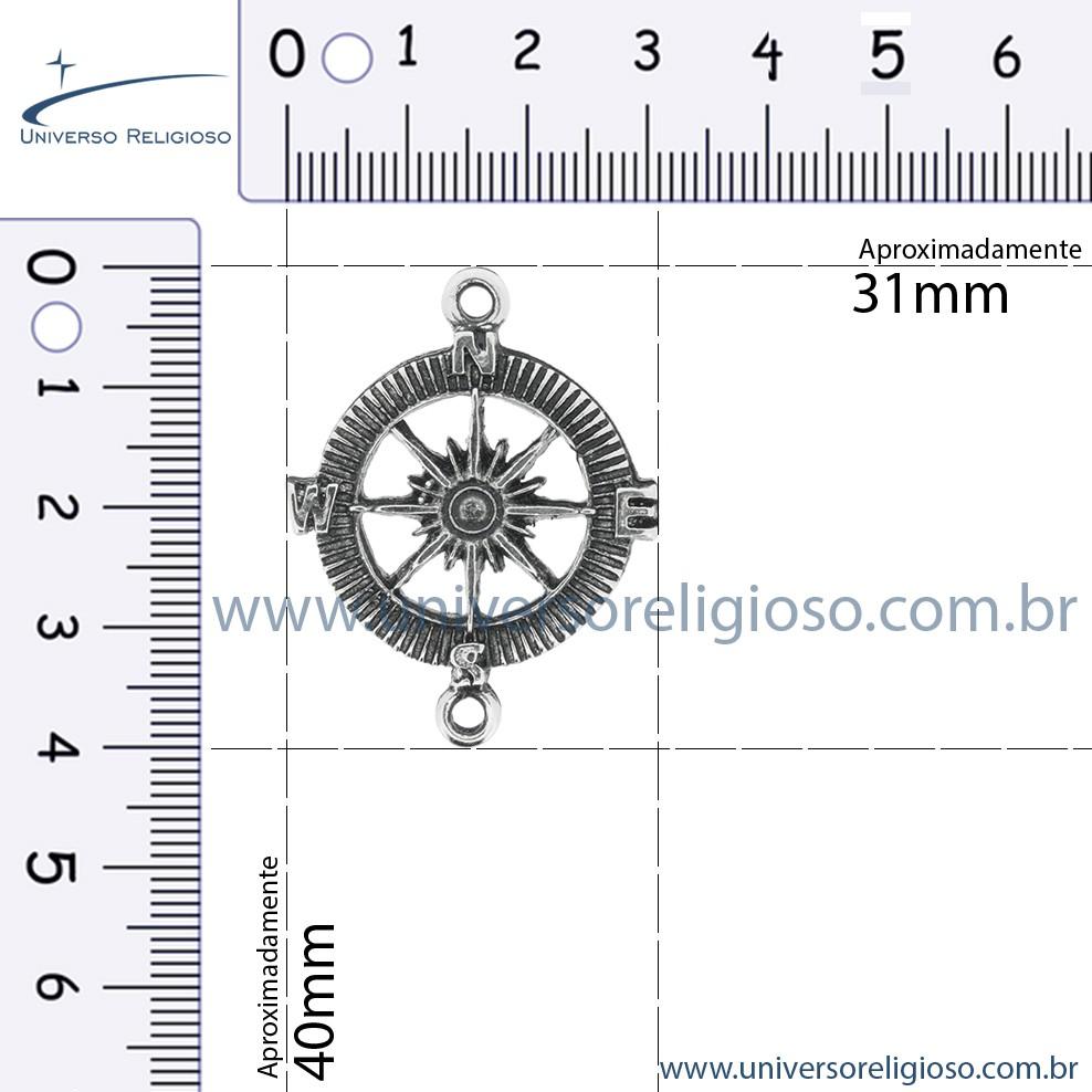 Rosa dos Ventos - Ouro Velho - 40mm  - Universo Religioso® - Artigos de Umbanda e Candomblé