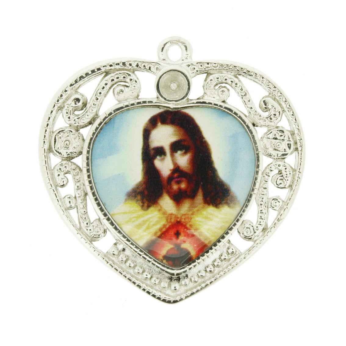 Sagrado Coração de Jesus - Níquel e Resina - 36mm  - Universo Religioso® - Artigos de Umbanda e Candomblé
