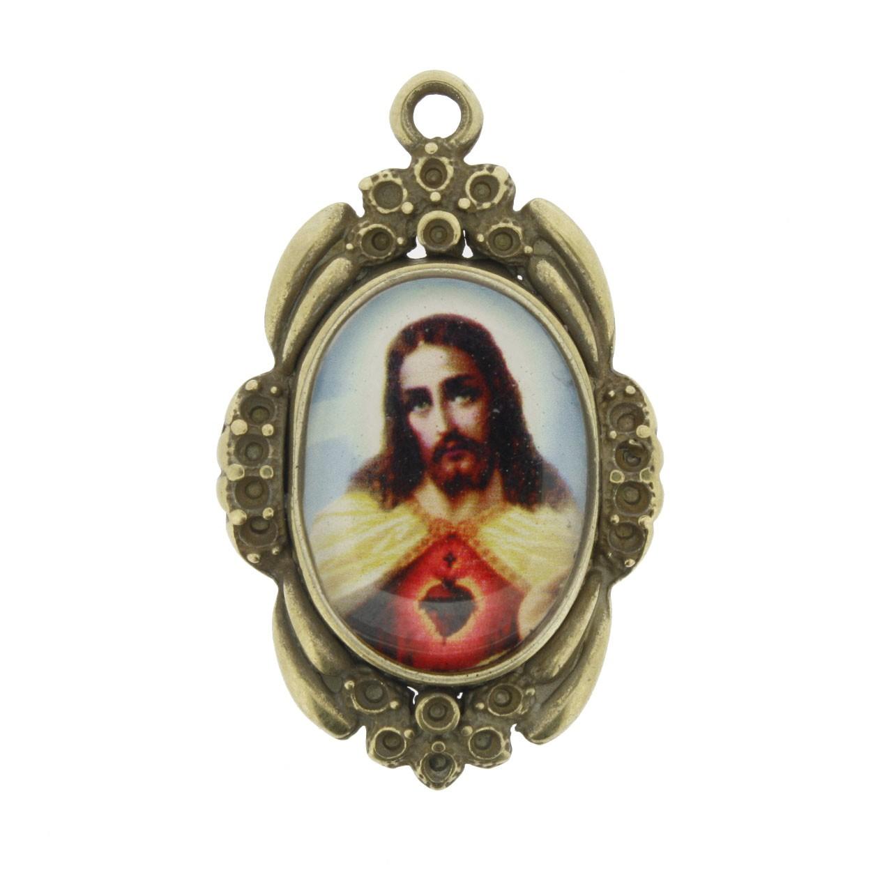 Sagrado Coração de Jesus - Ouro Velho e Resina - 42x26mm  - Universo Religioso® - Artigos de Umbanda e Candomblé