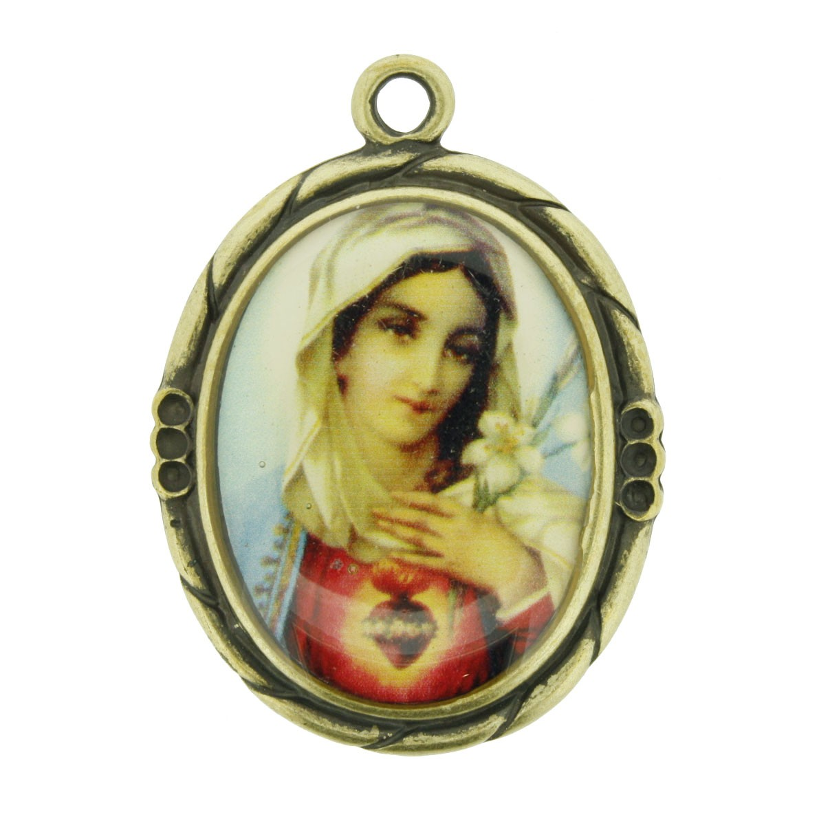 Sagrado Coração de Maria - Ouro Velho e Resina - 42mm  - Universo Religioso® - Artigos de Umbanda e Candomblé